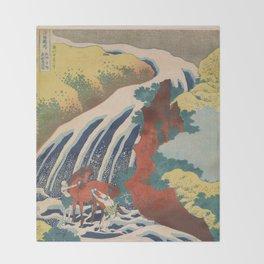 Yoshino Waterfalls Where Yoshitsune Washed his Horse by Katsushika Hokusai Throw Blanket