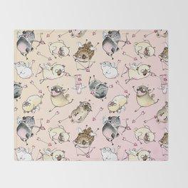 Love is in the Air - Cute Pug Cupids Throw Blanket