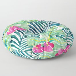 Lush Tropical Fronds & Hibiscus Floor Pillow