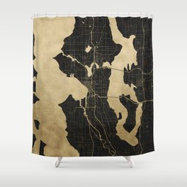 Seattle Black and Gold Map Shower Curtain
