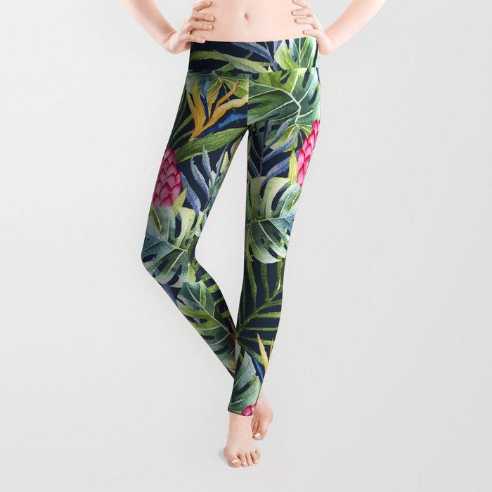 Tropical watercolor jungle pattern Leggings