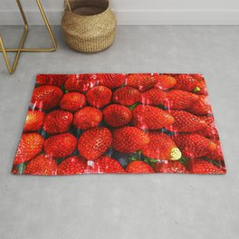 Bright Red Strawberries - For Fruit Lovers Rug