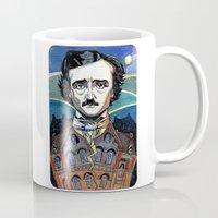 edgar allan poe Mugs featuring Edgar Allan Poe by Emma Ridgway