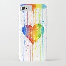 Heart Rainbow Watercolor Love Wins Colorful Splatters Slim Case iPhone 7