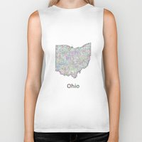 ohio state Biker Tanks featuring Ohio map by David Zydd