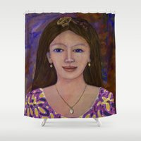 asia Shower Curtains featuring Asia woman by angelprint