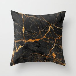 Black Malachite Marble With Gold Veins Throw Pillow