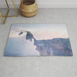 Falling Stars Surreal Levitation Off an Australian Cliff-Stars and a Levatating Woman Rug