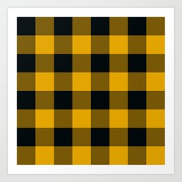 Yellow & Black Buffalo Plaid Art Print