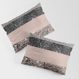 Blush Glitter Glam Stripes #1 #shiny #decor #art #society6 Pillow Sham