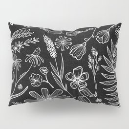 Floral Pattern II Black and White Pillow Sham
