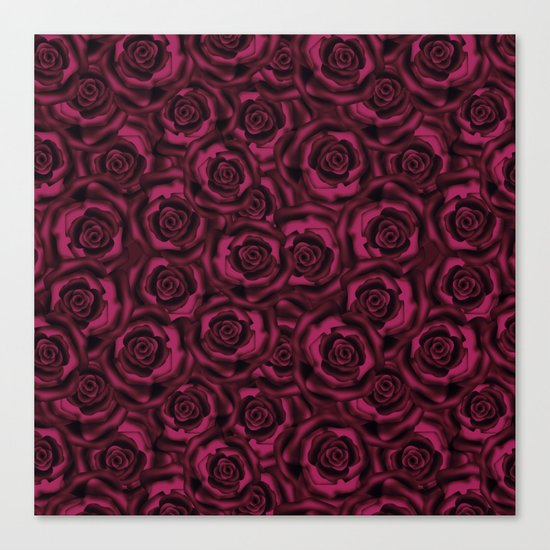 Dark Burgundy roses. Canvas Print