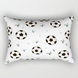 Fun grass and soccer ball sports illustration pattern Rectangular Pillow
