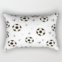 Fun grass and soccer ball sports illustration pattern Rectangular Pillow