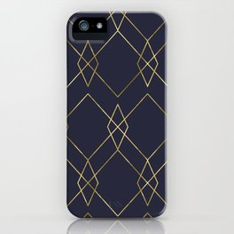 Gold Geometric Navy Blue iPhone Case