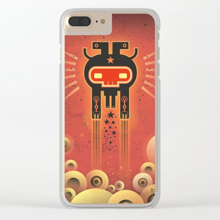 ELECTROCHAMAN Red face Clear iPhone Case