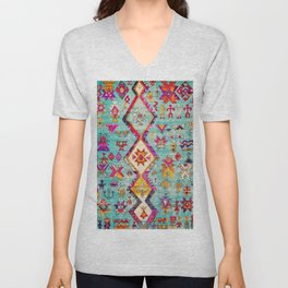 N178 - Antique Oriental Traditional Berber Bohemian Moroccan Style  Unisex V-Neck