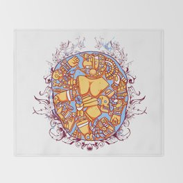 Inca design - Mayan Pinup Simbols Throw Blanket