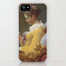 Young Girl Reading by Jean-Honoré Fragonard iPhone Case
