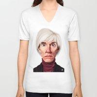 celebrity V-neck T-shirts featuring Celebrity Sunday ~ Andy Warhola by rob art | illustration