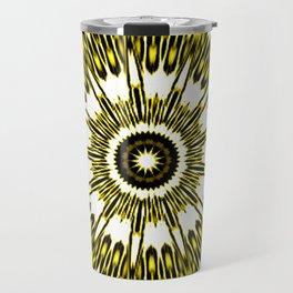 Yellow White Black Sun Explosion Travel Mug