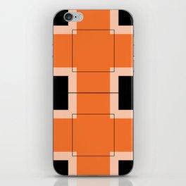 White Hairline Squares in Orange iPhone Skin