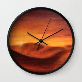 Sunset in the dunes of Sahara desert Wall Clock