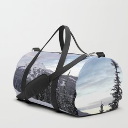 Mountains behind the trees Duffle Bag