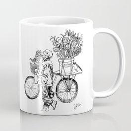 Bicycle Flower Seller in Hanoi in Pencil Coffee Mug