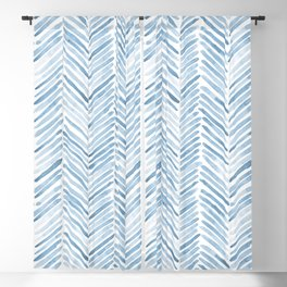 Baby blue watercolor herringbone  Blackout Curtain