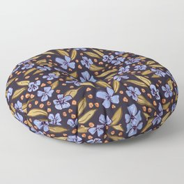 Vintage Floral, Blue, Green and Ochre Floor Pillow