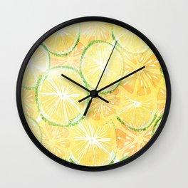 Juicy oranges. Watercolor textured pattern. Wall Clock