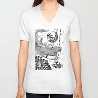 lake V-neck T-shirts featuring East of Blue Lake by Judith Clay