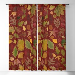 Autumn Leaves Red Blackout Curtain