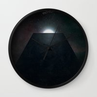 2001 a space odyssey Wall Clocks featuring 2001 A Space Odyssey alternative movie poster by LionDsgn