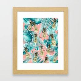 Tropical Pineapple Jungle Geo #6 #tropical #summer #decor #art #society6 Framed Art Print