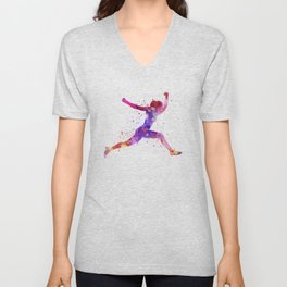 Woman runner running jumping shouting Unisex V-Neck