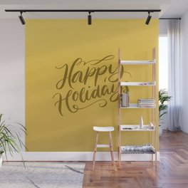 Happy Holidays Lettering on Gold Background Wall Mural