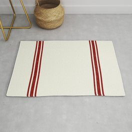 Vintage Country French Grainsack Red Stripes Creme Background Rug