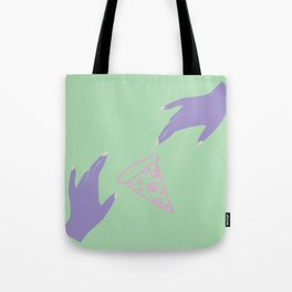 pizza by hand Tote Bag