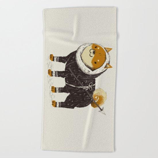shiba inu-it Beach Towel