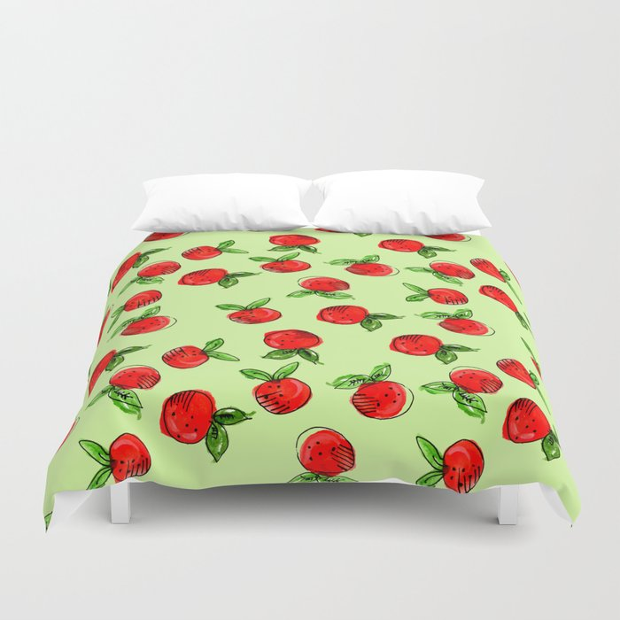 Watercolor Tangerine Green Homedecor Spring Fruit Duvet Cover