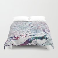 philadelphia Duvet Covers featuring Philadelphia map by MapMapMaps.Watercolors