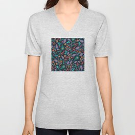Asian-Inspired Peacock Feathers and Floral Pattern Unisex V-Neck