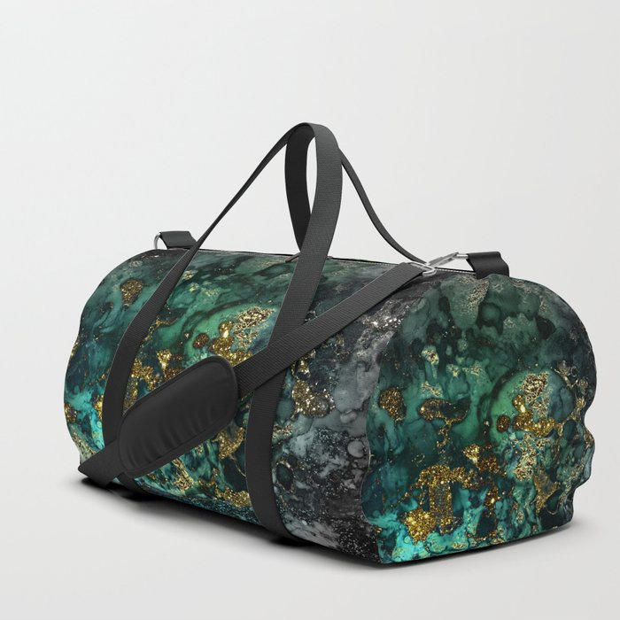 Gold Indigo Malachite Marble Duffle Bag