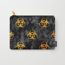 Grungy Biohazard Yellow on Black Carry-All Pouch