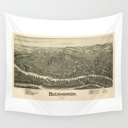 Aerial View of Buckhannon, West Virginia (1900) Wall Tapestry