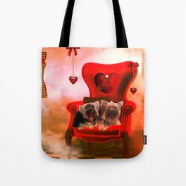 Cute little Yorkshire Terrier Tote Bag