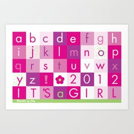 Alphabet_It's a girl_BABY PINKS 2012 Art Print