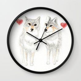 WOLVES IN LOVE / WOLF VALENTINE / WOLF PACK / WOLF LOVE Wall Clock